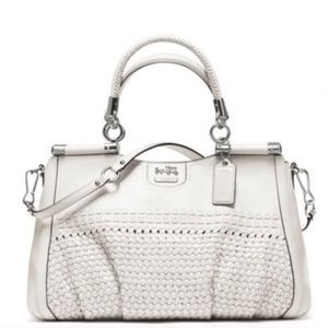 Coach Madison Woven Carrie 23341 White Leather Bag